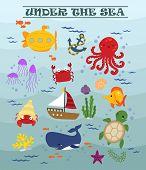stock photo of under sea  - many animal and ship under the sea - JPG