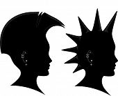 foto of mohawk  - Side View Illustration of the Silhouette of a Man Sporting a Mohawk - JPG