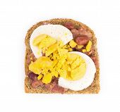 picture of bap  - Boiled egg sandwich with granary bread in the closeup - JPG