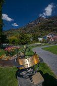 picture of sundial  - Zodiacal sundial at park in Vitznau Switzerland - JPG