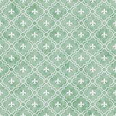 image of fleur de lis  - Green and White Fleur - JPG