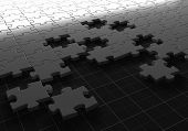 stock photo of three-dimensional-shape  - image of Jigsaw puzzle concept - JPG