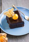 pic of chocolate fudge  - Chocolate fudge cake with gooseberry on top - JPG