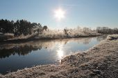 image of paysage  - beautiful winter river landscape covering white snow and hoar