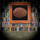 foto of brain-teaser  - Brain in library room generated texture or background - JPG