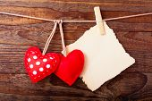 image of wallpaper  - Valentines Vintage Handmade Hearts over Wooden Background - JPG