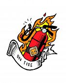 stock photo of fire  - Hand drawn vector illustration or drawing of a fire extinguisher with fire flames and a ribbon that says - JPG