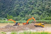 image of monster-truck  - Monster machines working on site at Thailand - JPG