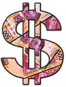 stock photo of pesos  - Cash Sign made out of real 500Mexican Peso bills with - JPG