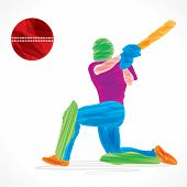 stock photo of cricket  - creative abstract cricket player design by brush stroke vector - JPG