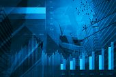 picture of line graph  - Financial and business chart and graphs on tower and map background - JPG