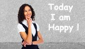 pic of positive thought  - Positive thinking girl over abstract background - JPG