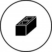stock photo of cinder block  - construction block symbol - JPG