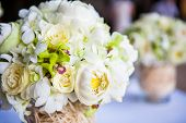 picture of pergola  - Floral arrangement at a wedding ceremony on the beach - JPG