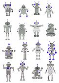 pic of alien  - Large black grey and white vector set of toy robots or aliens standing facing the viewer with sixteen different designs - JPG