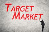 pic of market segmentation  - Asian business man write words on wall - JPG