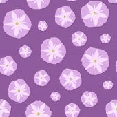 stock photo of ipomoea  - Simple Seamless Pattern with Pink Ipomoea Flowers - JPG