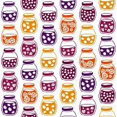 picture of jar jelly  - Fun seamless pattern with the colorful fruit jam jars - JPG