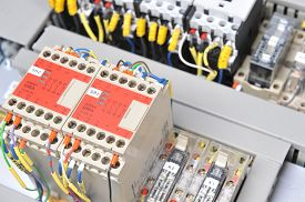 stock photo of electric station  - New control panel with electrical equipment - JPG