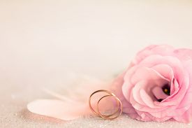picture of marriage ceremony  - Wedding  Background with gold Rings - JPG