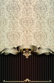 stock photo of damask  - Vintage background with decorative damask ornament and ribbon - JPG