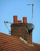 foto of chimney  - A typical chimney found on a domestic semi detached dwelling in the UK - JPG