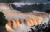 picture of cataract  - The waterfalls in Iguazu National Park, a UNESCO World Heritage Site, Foz do Iguazu, Parana State, Brazil ** Note: Shallow depth of field - JPG