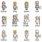 picture of chess piece  - Vector pixel art set of chess pieces - JPG
