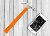 pic of hamster  - Modern broken mobile phone and hamster on white wooden background - JPG