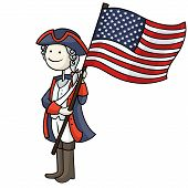 pic of national costume  - Cartoon man celebrating United States of America Independence Day wearing a national costume and holding a flag - JPG
