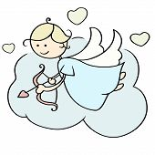 foto of bow arrow  - Cute cartoon happy cupid flying on cloud with arrows - JPG