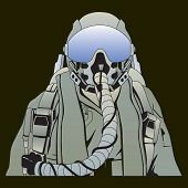 image of goatee  - The military pilot in the plane in a helmet vector - JPG