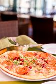 image of tourist-spot  - Authentic pizza with tomatoes smoked sausage bacon and parsley - JPG