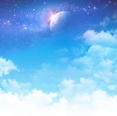 stock photo of nightfall  - Cloudy sky background star field and planet in deep space - JPG