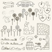 foto of hare  - Design elements rabbit and hare candy heart bird - JPG