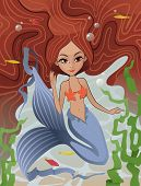 stock photo of mermaid  - The vector illustration of the Mermaid Swimming Underwater - JPG