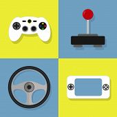 stock photo of controller  - Colorful icons of videogame - JPG