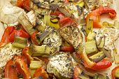 foto of leek  - Vegetables mix baked in the oven with aubergine - JPG