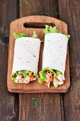 picture of sandwich wrap  - Wrap sandwiches with chicken meat and vegetables - JPG