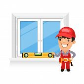 stock photo of carpenter  - Carpenter Checks the New Window - JPG