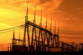 stock photo of substation  - High voltage power transformer substation - JPG