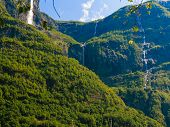 pic of fjord  - Summer mountain beautiful waterfall in Norway fjords Europe - JPG