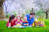 picture of healthy eating girl  - Young family with kids having picnic outdoors - JPG