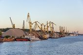 picture of barge  - barges and cranes in the river port - JPG