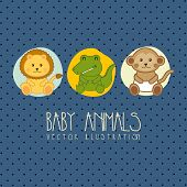 picture of baby animal  - baby shower card with baby animals - JPG