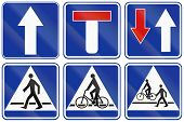 stock photo of walking dead  - Collection of informational road signs in Poland including dead end and bike and foot path - JPG