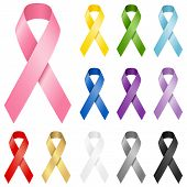 stock photo of cans  - Set of realistic vector awareness ribbons in 12 different colors - JPG