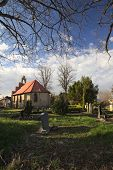 stock photo of chapels  - Chapel and graveyard in Stahlbrode Mecklenburg - JPG