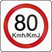foto of traffic rules  - Bruneian traffic sign restricting speed to 80 kilometers per hour - JPG