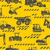 image of heavy equipment  - Seamless pattern with silhouette of heavy equipment and machinery - JPG